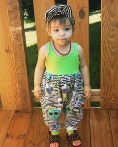Look at miss Catalina in her watercolor skulls romper #smallshopsdreambig #smallshop #toddlersofinstagram #romperstyle #llk…